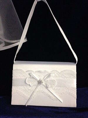 White Lace Bow Satin Bag  Ideal Holy Communion, Bridesmaid/Flower Girl BN • 9.99£