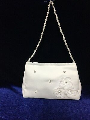 White Satin Bag With Beaded Handle  Holy Communion, Bridesmaid/Flower Girl BN • 9.99£