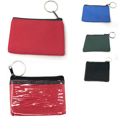 $7.95 • Buy Coin Pouch Wallet Change Holder Purse With Key Chains 4 Colors ID Holder Cards