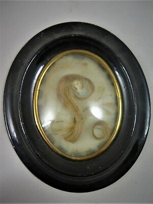 AU186.94 • Buy Antique French Rare  Hair Mourning  Art In Oval  Wood Frame 1880's