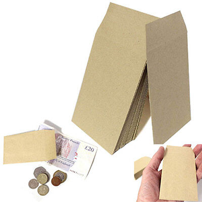 SMALL BROWN ENVELOPES 100x62mm DINNER MONEY WAGES COIN TUCK POCKET SEEDS BEADS • 1.59£
