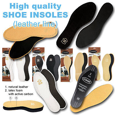 £3.99 • Buy High Quality SHOE INSOLES Inserts Ladies Men Leather Line, Unisex /// All Sizes