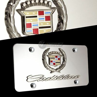 $47.95 • Buy NEW 3D CADILLAC Logo Front Mirror Stainless Steel License Plate Frame With Caps