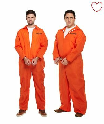 Prisoner Convict Mens Orange Overall Jumpsiut Fancy Dress Party • 14.99£