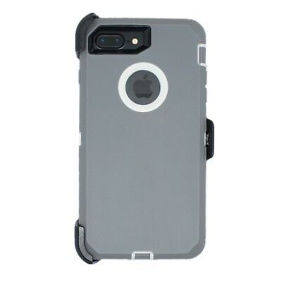 AU14.24 • Buy For IPhone 8 Plus Defender Case Cover W/ Belt Clip Fits Otterbox Gray White