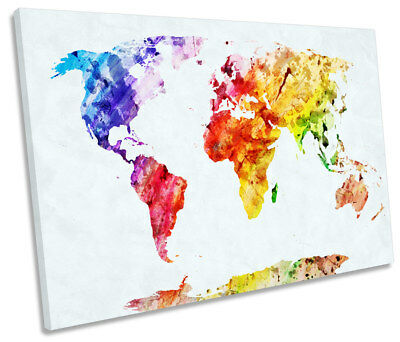 AU289.99 • Buy Map Of The World Colourful Picture SINGLE CANVAS WALL ART Print