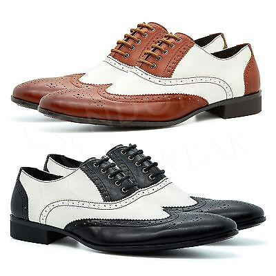New Mens Two Tone Oxford Brogues Lace Up Formal Gangster Shoes Wingtip Spats UK • 21.99£