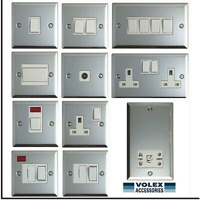 Volex Polished Chrome Light Switches And Electrical Sockets With White Finish • 5.99£