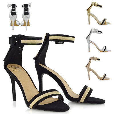 Womens Strappy Stiletto High Heel Sandals Ladies Party Prom Shoes Size 3-8 • 9.99£