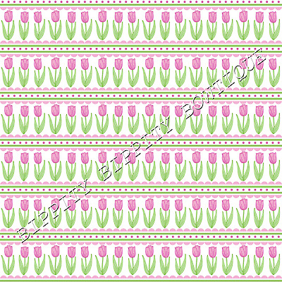 £2.20 • Buy Spring  Tulips & Daffodils  Printed Fabric Sheet...hair Bows, Glitter, Exclusive