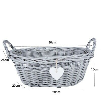Eared Grey Painted Wicker Basket  Retail Display Christmas Gift Hampers-WH • 11.99£
