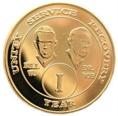 $12.50 • Buy Recovery AA Coins Alcoholic Anonymous 3 Year Gold Plate Bill & Bob AA Medallion