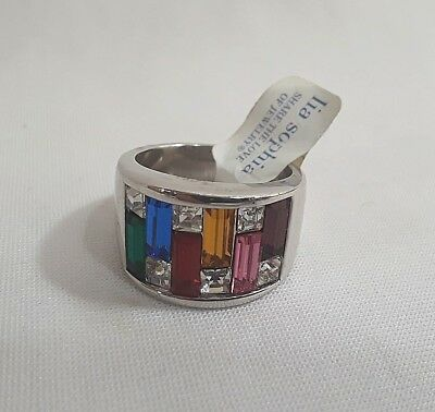 $ CDN32.59 • Buy Lia Sophia Ring MULTI COLORED RHINESTONES Size 8 THICK SILVER TONE New Tags  #25