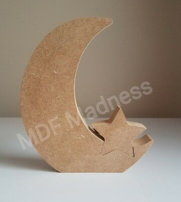 Mdf Craft Shape. Wooden Moon With Star Insert • 4.25£