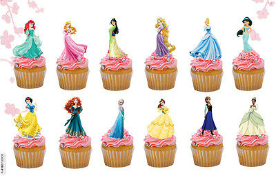 £4.25 • Buy 24 Precut Disney Princess Stand Up Edible Cake Toppers Quality Wafer Card
