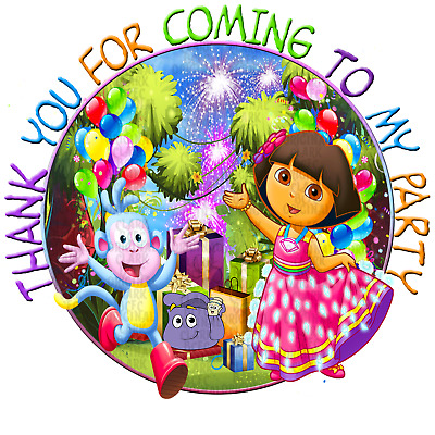 70 Diamond Dora 37mm Party Bags Favour Stickers Cone Labels Birthday Parties • 1.99£