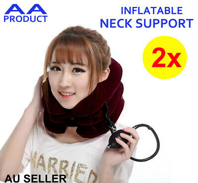 AU15.98 • Buy 2xInflatable Neck Support Cushion Sleep Airplane Flight Travel Pillow Head Rest