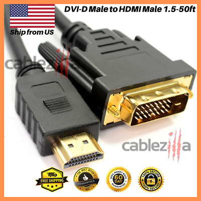 $ CDN9.86 • Buy DVI-D Male To HDMI Male Cable Gold 24+1 HDTV PC 1.5ft 3ft 6ft 10ft 15ft 25f 50ft