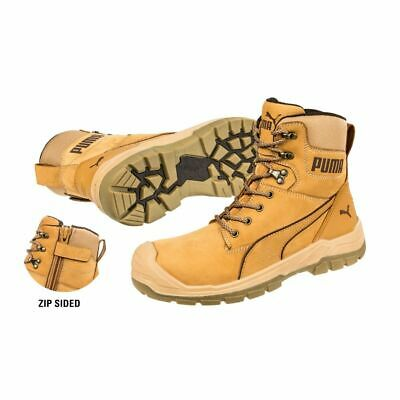 New PUMA Safety Work Boots Conquest Wheat Zip Sided Scuff Cap Range 7 Inch  Boot • 028a17b85
