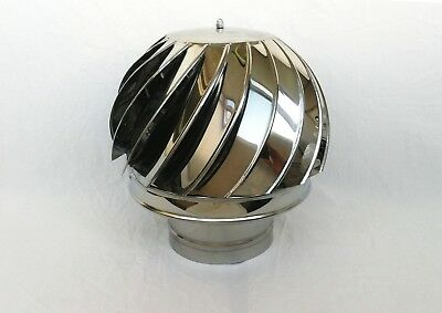 4'' / 100mm CHIMNEY SPINNER COWL Stainless Steel Rotating Wind Spinning Vent Cap • 47.90£