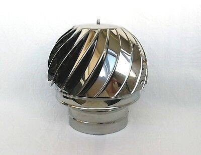 7.2''/180mm CHIMNEY SPINNER COWL Stainless Steel Rotating Wind Spinning Vent Cap • 52.90£