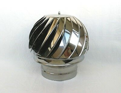 8'' / 200mm CHIMNEY SPINNER COWL Stainless Steel Rotating Wind Spinning Vent Cap • 54.90£