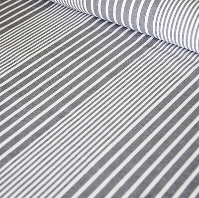 French Montpellier Grey Stripe Linen Machine Washable Oilcloth  • 8£