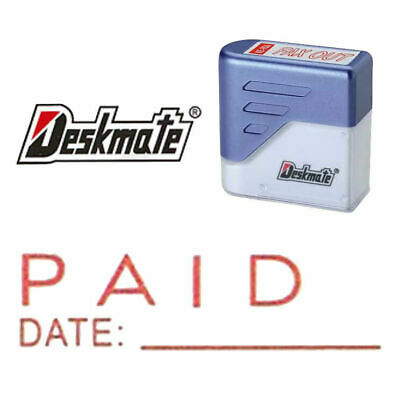 AU7.99 • Buy {PAID DATE} Deskmate Red Pre-Inked Self-Inking Rubber Stamp {ENTERED}{E-MAILED}