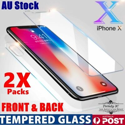 AU8.95 • Buy 2X Front And Back Tempered Glass Screen Protector Guard For IPhone 7/8/Plus/X