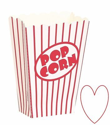 Retro Food Small Popcorn Boxes Party Cinema Movie Red And White Striped • 3.59£
