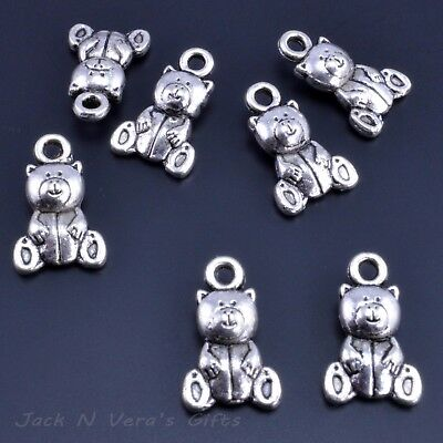 Teddy Bear Charms 3d - Antique Silver Colour Plated - Crafts X 10 Pcs • 1.99£