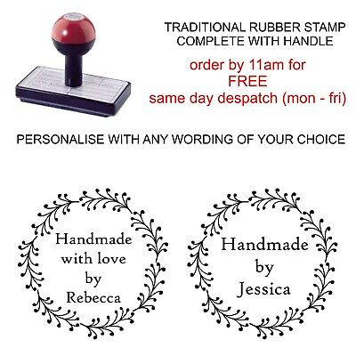 Personalised Handmade By Rubber Stamp Bespoke With Your Name And Wreath Image • 11.95£
