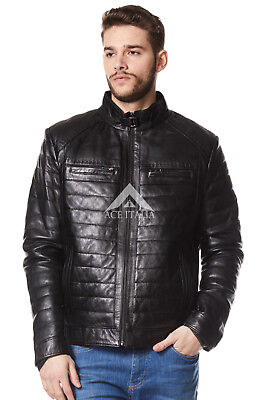 Men's Leather Jacket Soft Black Napa Biker Motorcycle Quilted Style 9050 • 128£