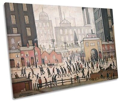 L.S Lowry Coming From The Mill SINGLE CANVAS WALL ART Print • 27.99£