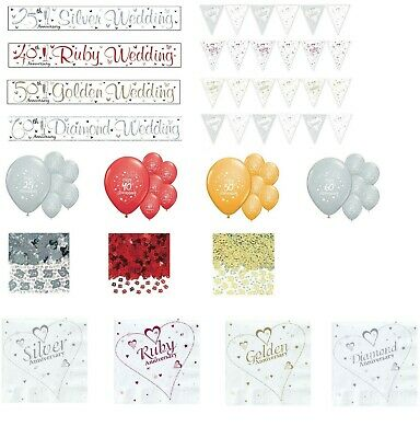 Anniversary Party Banners Balloons Buntings 25 40 50 60 Wedding Decorations (se) • 1.48£