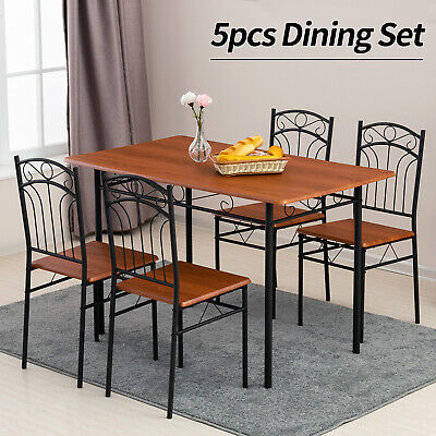 5 Piece Metal Dining Table Set 4 Chairs Wood Top Table Kitchen Furniture Brown • 129.90$
