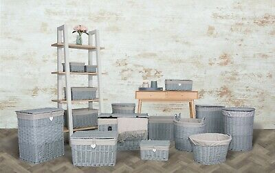 Grey Paint Collection Home Bathroom Storage Wicker Basket Trunk Gift Hampers • 16.99£