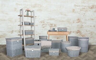 Grey Paint Collection Home Bathroom Storage Wicker Basket Trunk Gift Hampers • 10.99£