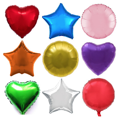 18  Heart Star Round Solid Colour Foil Helium Balloon Birthday Wedding Party • 1.49£