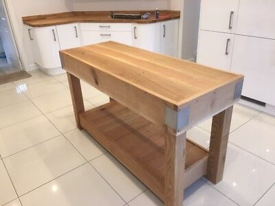 Oak Butchers Block Kitchen Island Rustic Reclaimed Made From Solid English Oak  • 1,641£