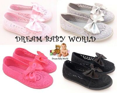 £10.90 • Buy Girls Canvas Ballet Shoes Pumps Plimsolls Ballerina Summer Mesh Knitted Lacy