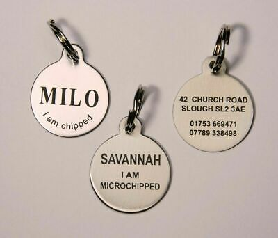 Dog Tag Pet ID Tag Dog Disc Stainless Steel Laser Engraved Both Sides FREE POST • 4.85£