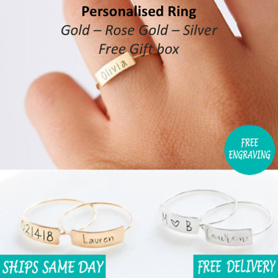 Personalised Engraved Womens Wedding Name Ring - Gold Rose Gold Silver - Giftbox • 9.99£