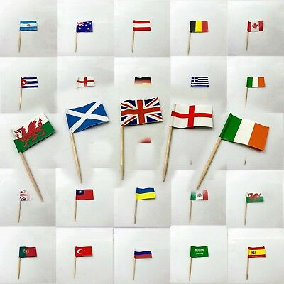 £2.99 • Buy Toothpicks MINI Flag Paper Cupcake Sticks Party Cocktail Catering Countries Deco