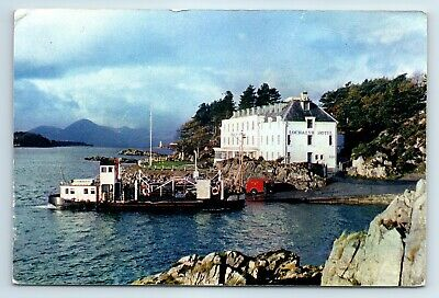 Lochalsh Hotel Kyle Of Lochalsh View Of Ferry Boat View Old Collectable Postcard • 3.50£