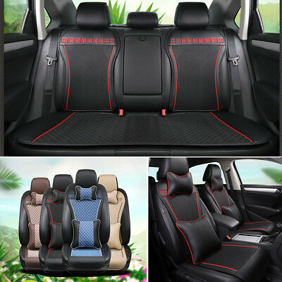 $ CDN130.53 • Buy Cotton & Linen Blend Car Seat Cover 5-Seat Cushion Protector W/ Pillow Black