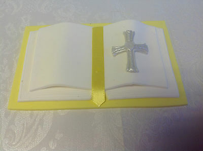 HANDMADE Sugarcraft Bible /Book Cake Topper - YELLOW & White - 2 Sizes Available • 8.50£
