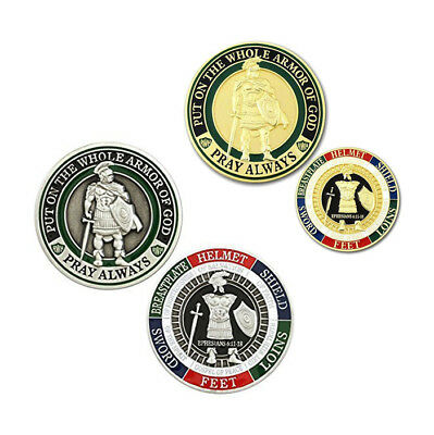$8.99 • Buy 2 God Pray Always Military Challenge Coin Ephesians 6:11-18 Silver/Gold