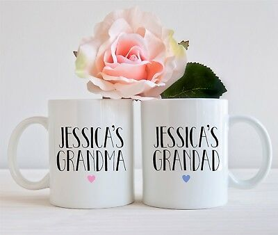 Set Of 2 Mugs Personalised Childs Grandma Nan Nanny Grandad Mug Cup Present Gift • 9.50£