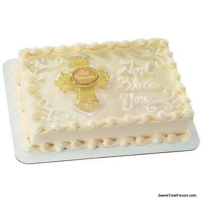 First Communion Cross Cake Decoration Party TOPPER Religious Gold Plac Supplies • 7.17£